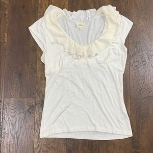 Anthropologie Deletta cream ruffle neck top